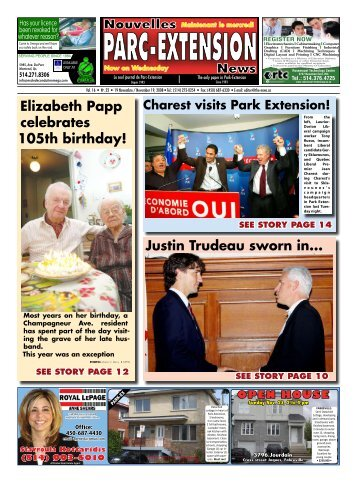Elizabeth Papp celebrates 105th birthday! Justin Trudeau sworn in...