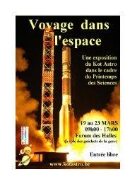 Carnet d'expo 2012 : Voyage dans l'espace - Kot Astro