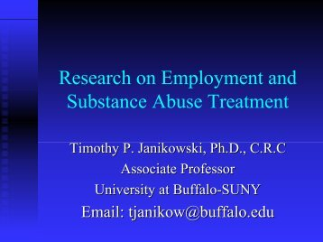 Research on Employment and Substance Abuse Treatment - Archives