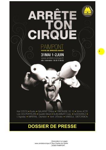 Dossier de Presse (PDF) - Festival Arrête Ton Cirque