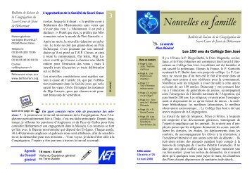 Nouvelles en famille - Prêtres du Sacré-Coeur de Bétharram