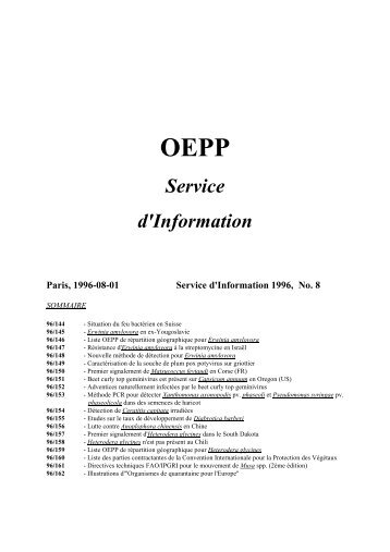 OEPP Service d'Information - Lists of EPPO Standards