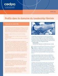 Profils dans le domaine du Leadership Féminin - cedpa