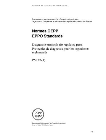 Normes OEPP EPPO Standards - Lists of EPPO Standards ...