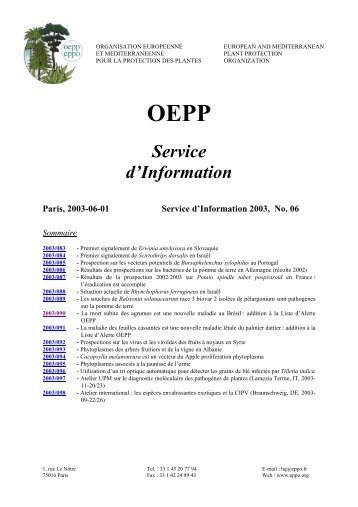Service d'Information - Lists of EPPO Standards - European and ...
