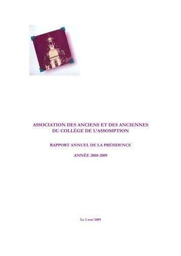 Rapport annuel de la présidence 2008-2009 - Association des ...