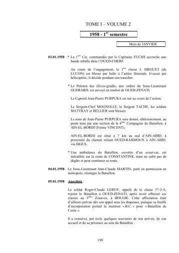 TOME I – VOLUME 2 1958 - 1 semestre - Bataillon de Corée