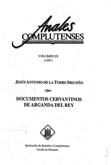 """""""Documentos Cervantinos de Arganda del Rey"""" - Archivo de la ..."""