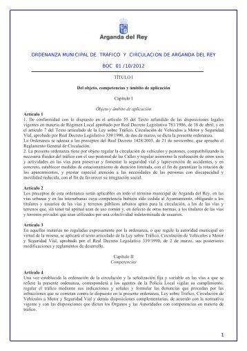 Ordenanza municipal de circulacion for Piscina municipal arganda del rey