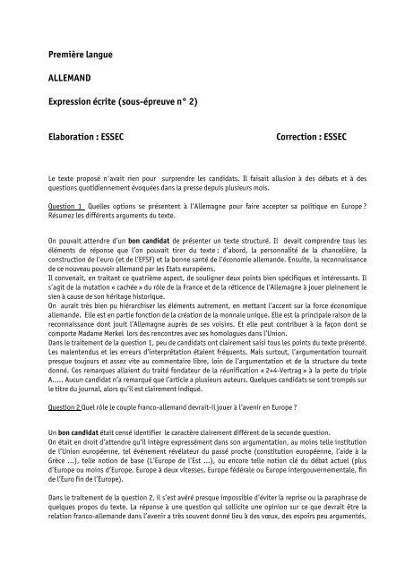 75 2012 Rapport Lv1 Ccip Allemand Expression Ecrite Pdf Bce