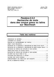 Pandora 2.5.2 Recherche de mots dans des corpus grecs ou latins ...