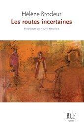 Les routes incertaines - Éditions Prise de parole