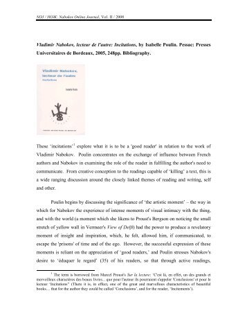 Vladimir Nabokov, lecteur de l'autre: Incitations, by Isabelle Poulin ...