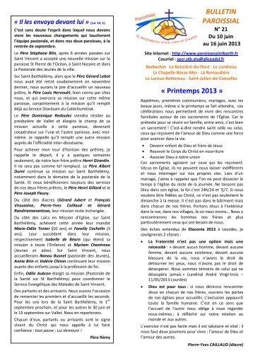 BULLETIN PAROISSIAL « Printemps 2013 » - Bienvenue sur le site ...