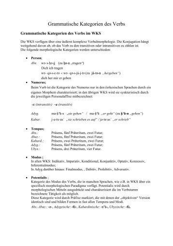 Grammatische Kategorien des Verbs