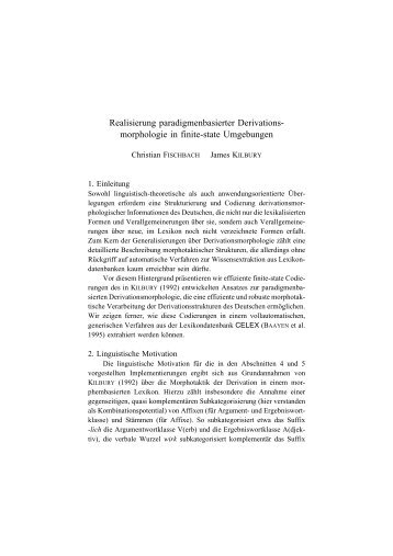 Realisierung paradigmenbasierter Derivations- morphologie in finite ...