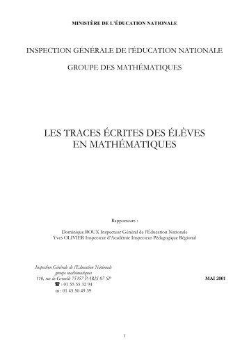 les traces écrites des élèves en mathématiques - Inspection ...