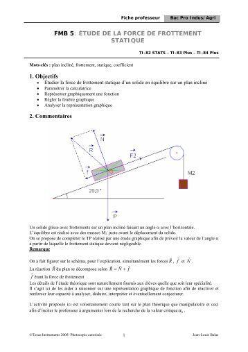 Tp3 frottement et plan inclin - Glissement d un solide sur un plan incline ...