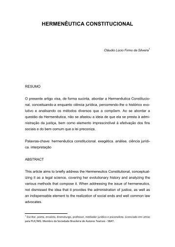 HERMENÊUTICA CONSTITUCIONAL - Artigo Científico