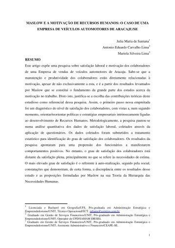 MASLOW E A MOTIVAÇÃO DE RECURSOS ... - Artigo Científico