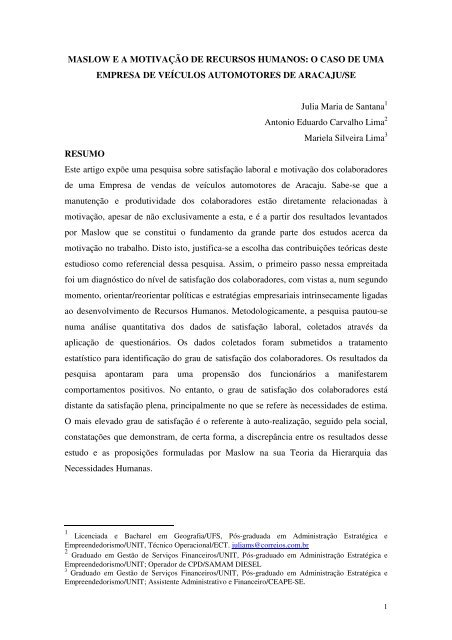 Maslow E A Motivação De Recursos Artigo Científico