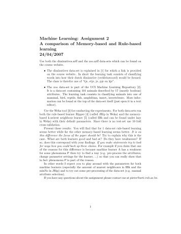 Machine Learning: Assignment 2 A comparison of Memory-based ...