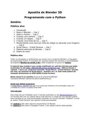 Apostila de Blender 3D Programando com o Python