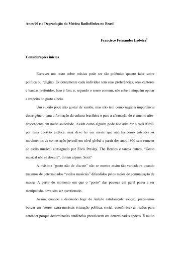 Anos 90 e a Degradação da Música Radiofônica no Brasil Francisco ...