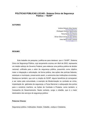 POLÍTICAS PÚBLICAS LOCAIS - Sistema Único de Segurança ...