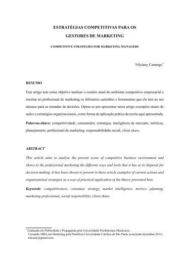 Estratégias compEtitivas para os gEstorEs dE markEting