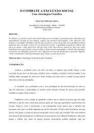 O COMBATE A EXCLUSÃO SOCIAL - Artigo Científico
