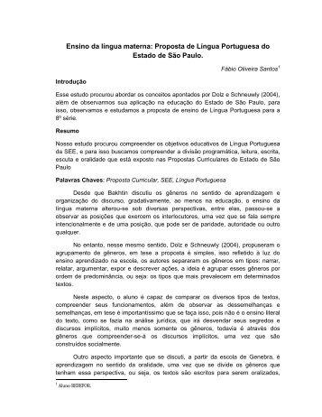 Ensino da língua materna: Proposta de Língua Portuguesa do ...