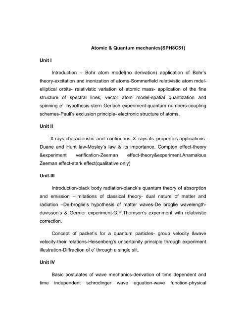 Atomic Physics & Quantum Mechanics - SPH8C51 - NPR Arts and