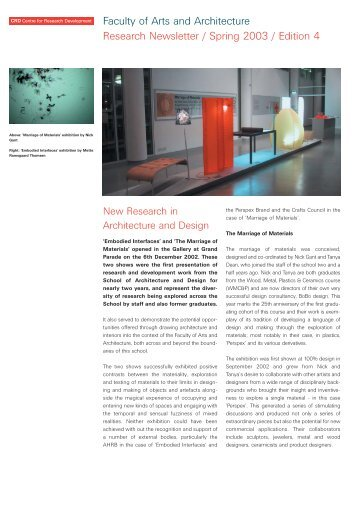 Research News 4, spring 2003 - University of Brighton - Faculty of Arts