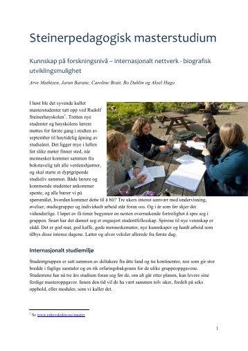 Steinerpedagogisk masterstudium - Kunnskap på ... - Arve Mathisen