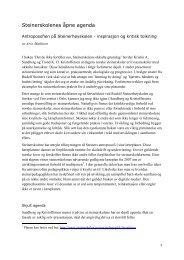 Steinerskolenes åpne agenda: Antroposofien på ... - Arve Mathisen