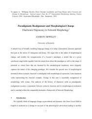 Paradigmatic Realignment and Morphological Change Diachronic ...