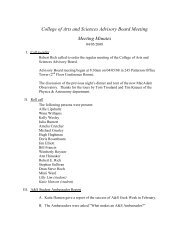 College of Arts and Sciences Advisory Board Meeting Meeting Minutes