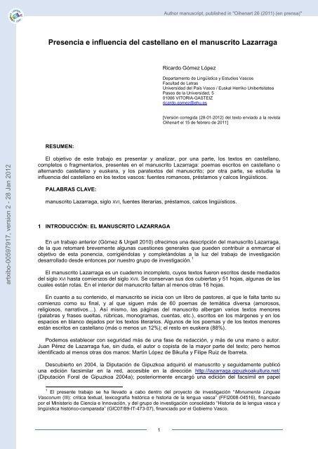 Presencia E Influencia Del Castellano En El Manuscrito