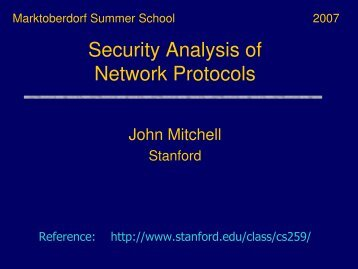 Security Analysis of Network Protocols - Summer School ...