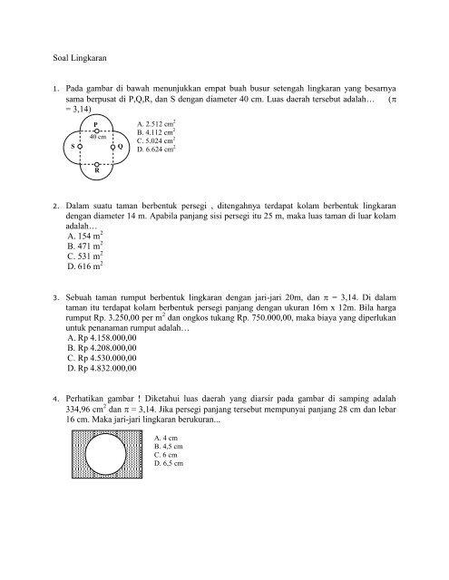 Soal Lingkaran 1 Pada Gambar Di Bawah Menunjukkan Empat Buah