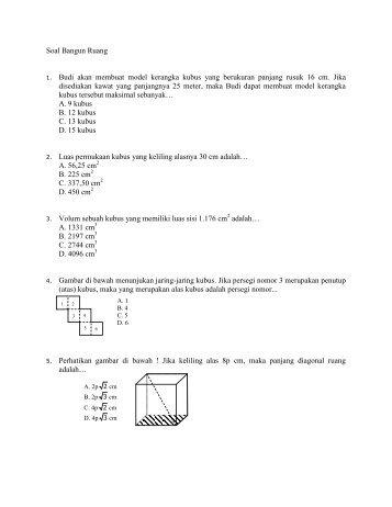 Soal Bangun Ruang 1. Budi akan membuat model kerangka kubus ...