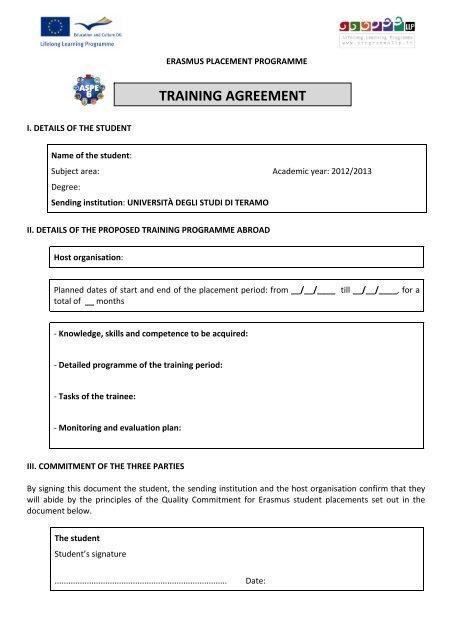 Training Agreement Erasmus Placement