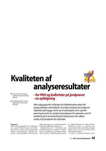 Dansk Vejtidsskrift 2001/11 Kvaliteten af analyseresultater for PAH ...