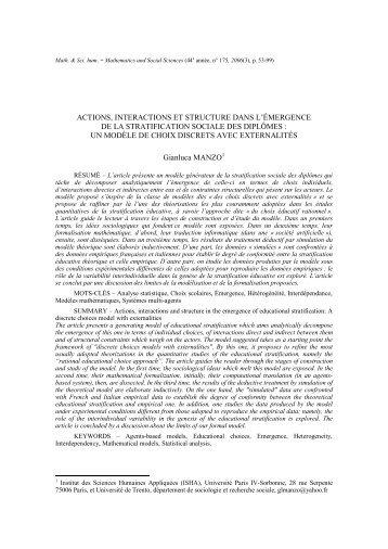 Télécharger le fac-similé - Mathématiques et sciences humaines