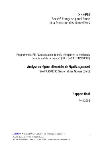 LUGON A. 2006. Analyse du régime alimentaire de Myotis capaccinii