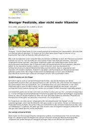 Weniger Pestizide, aber nicht mehr Vitamine - S-bar
