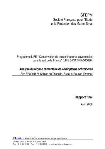 LUGON A. 2006. Analyse du régime alimentaire de Miniopterus ...