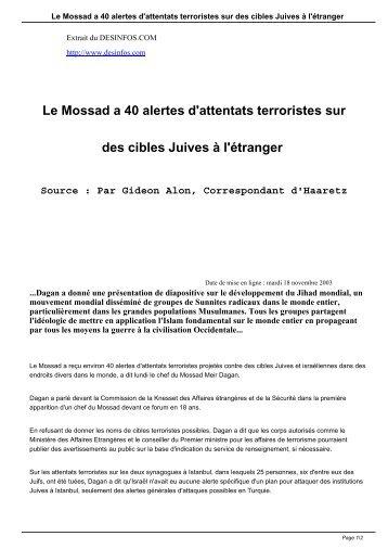 Le Mossad a 40 alertes d'attentats terroristes sur ... - DesInfos .com