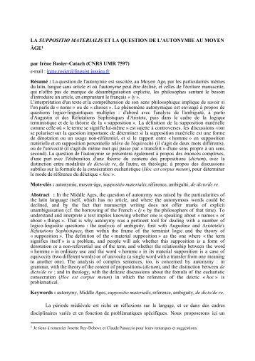 LA SUPPOSITIO MATERIALIS ET LA QUESTION DE L ... - Syled